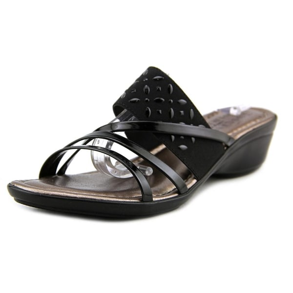 Easy Street Atessa Women WW Open Toe Canvas Black Slides Sandal