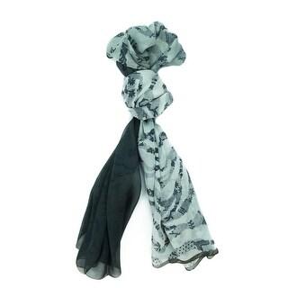 Ungaro UN7018 S8058 Floral Mesh Print Grey Silk Scarf
