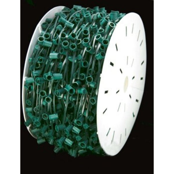 """1000' Commercial C7 Christmas Light Socket Set Spool - 12"""" Spacing Green Wire"""