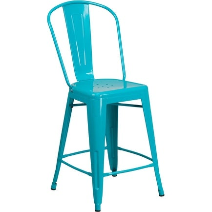Brimmes 24'' High Crystal Teal-Blue Metal Indoor/Outdoor/Patio/Bar Counter Height Stool w/Back