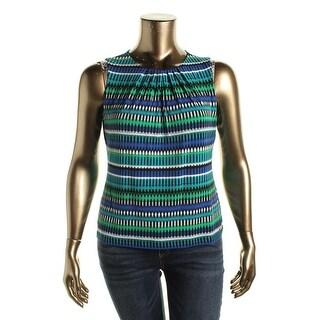 Calvin Klein Womens Petites Matte Jersey Printed Blouse