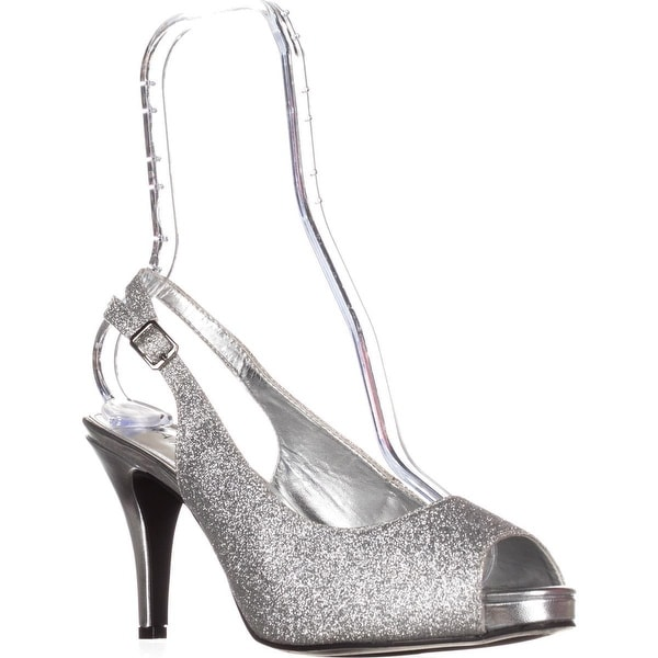 Rampage Fasher Peep Toe Slingback Pumps, Silver Glitter - 8.5 us