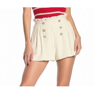 Fashion On Earth Women's Shorts Beige Size Medium M Paperbag Pleated