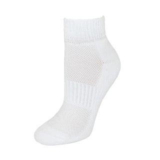 CTM® Women's Cushioned Quarter Socks with Mesh Top (3 Pair Pack)
