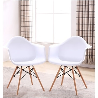 Retro-classic Eames Style Wood Leg White Accent Chair with Arms ( Set of 2 )