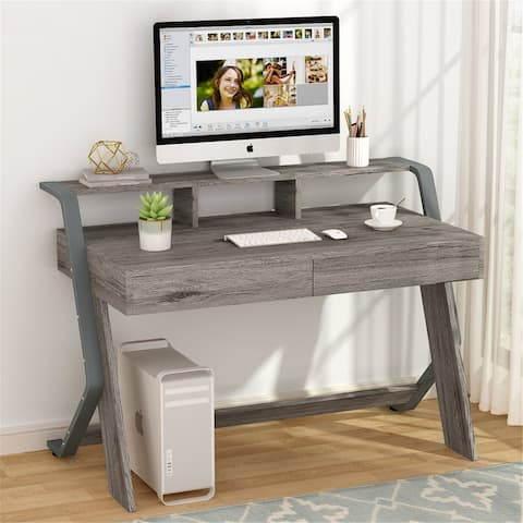 Computer Desk with 2 Storage Drawers & Monitor Stand Riser