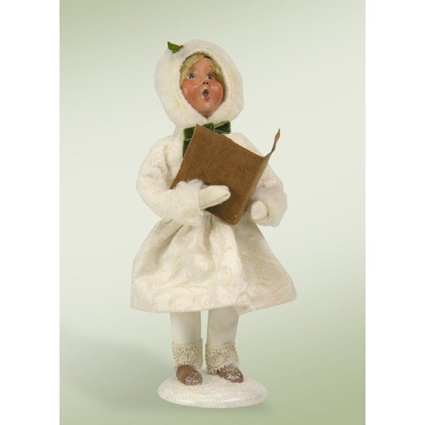 "10"" Winter White Family Girl with Hymn Book Christmas Caroler Figure"