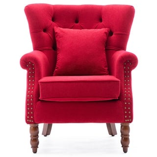 Link to Modern Wingback Chair Button-Tufted Nailhead Trim Accent Armchair Similar Items in Living Room Chairs