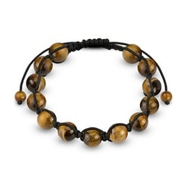 Adjustable Bracelet with Tiger Eye Stone Round Beads (10 mm) - 7.5 in