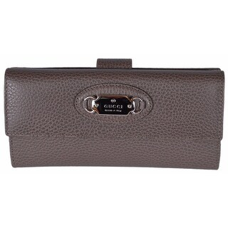 """Gucci Women's 231841 Grey Field Brown Leather W/Coin Continental Wallet - 7.75"""" x 4"""""""