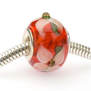 Glass Lampwork European Style Large Hole Bead - Siam Red W/Flowers 14mm (1)