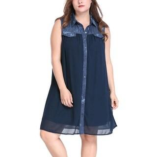 Allegra K Women's Plus Size Wash Denim Flap Pockets Chiffon Above Knee Shirt Dress - Blue