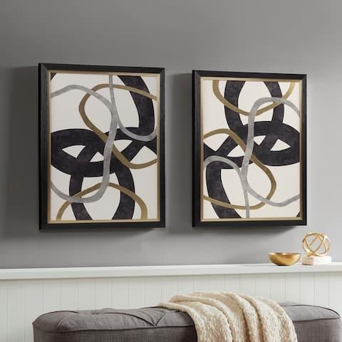 Madison Park Moving Midas Black Abstract Gold Foil Framed Canvas 2 Piece Set