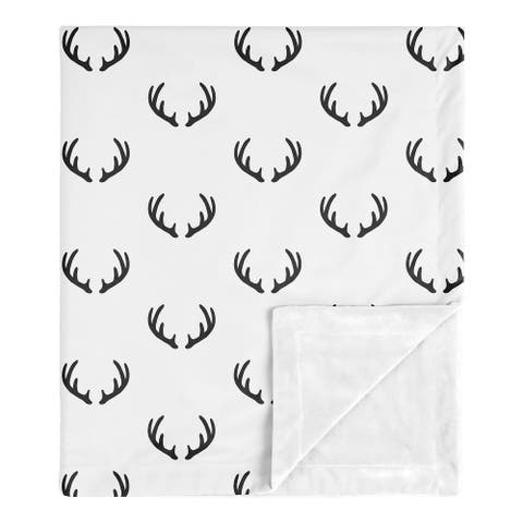 Woodland Deer Collection Boy Baby Receiving Security Swaddle Blanket - Black and White Rustic Antler
