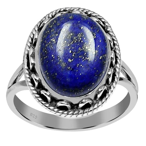 Lapis Lazuli,Labradorite,Amethyst,Turquoise Sterling Silver Oval Filigree Ring by Orchid Jewelry