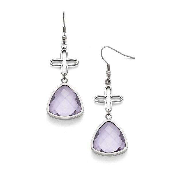Chisel Stainless Steel Polished Flower Purple Glass Shepherd Hook Earrings