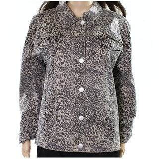 Ashley Mason NEW Brown Womens XS Animal-Print Distressed Denim Jacket