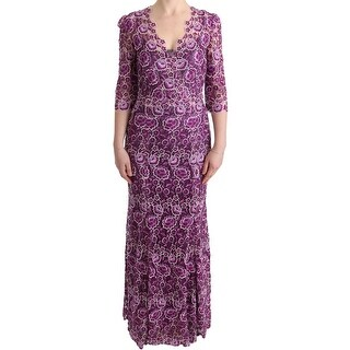 Dolce & Gabbana Purple Floral Ricamo Sheath Long Dress - it40-s