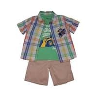 Children Apparel Little Boys Multi Checker Shirt T-Shirt 3 Pc Shorts Set