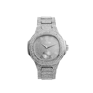 Link to Blinged Out Oblong Diamond Case Silver Metal Men's Watch with Matching Iced Out Bracelet Gift Set Similar Items in Men's Watches