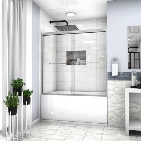 "Kichae Tub Door 60"" x 58-1/8"" Semi-Frameless Bypass Sliding Bathtub Shower Enclosure"