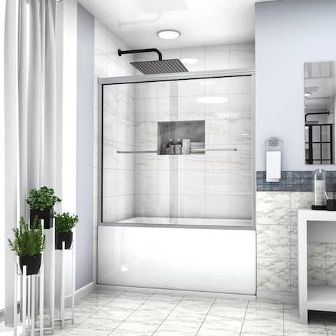 "Lordear Tub Door 60"" x 58-1/8"" Semi-Frameless Bypass Sliding Bathtub Shower Enclosure"