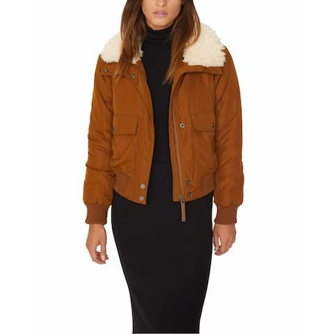 Sanctuary Brown Womens Size Small S Faux Fur Aviator Flight Jacket