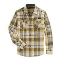 Sean John Mens Button-Down Shirt Plaid Epaulette