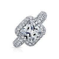 Bling Jewelry .925 Silver Pave Square Princess Cut CZ Pave Engagement Ring