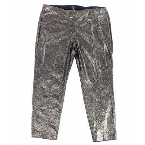 Alfani Women's Gold Size 16W Plus Foil Skinny Leg Dress Pants Stretch