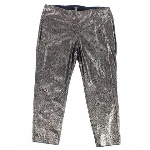 Alfani Womens Pants Gold 16W Plus Dress Comfort-Waist Skinny Stretch