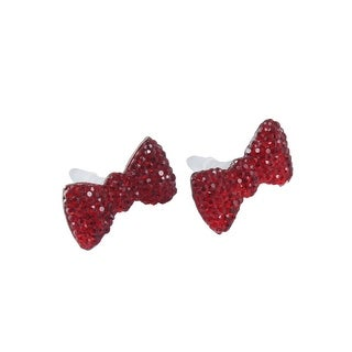Bling Red Crystal Bowknot Accent 3.5mm Headset Anti Dust Ear Cap Plug 2 Pcs