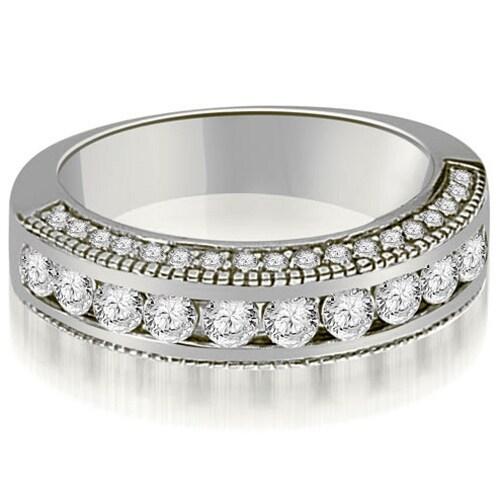 1.20 cttw. 14K White Gold Round Diamond Antique Wedding Band