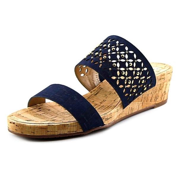 Vaneli Keena Women N/S Open Toe Canvas Blue Wedge Sandal