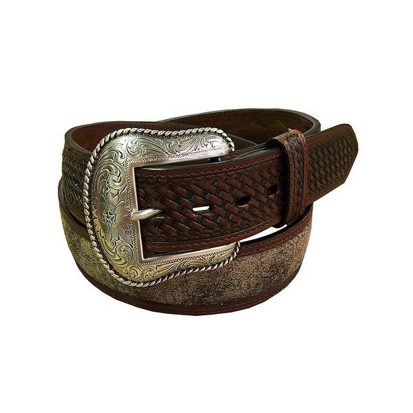 Roper Western Belt Mens Basket Weave Contrast Strap Taupe
