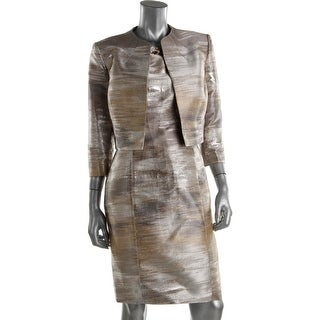 Tahari ASL Womens James 2PC Metallic Dress With Jacket - 12