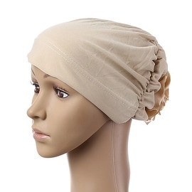 Muslim Scarf Kerchief Hat Flower Casual beige yellow