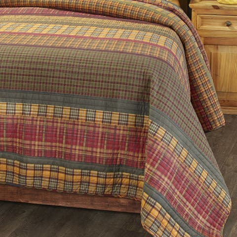 Gold Rush Oversized Plaid Bed Top Quilt with Reversible Back Queen