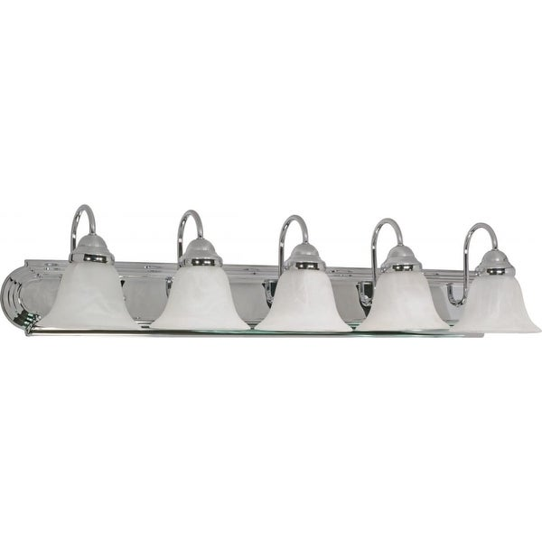 """Nuvo Lighting 60/319 Ballerina 5-Light 36"""" Wide Bathroom Vanity Light with Frosted Glass Shades - Polished chrome"""