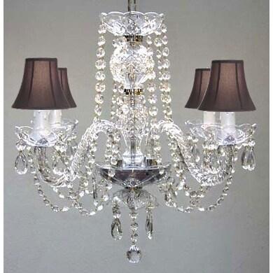 Swarovski Elements Crystal Trimmed Chandelier Lighting All Crystal Chandelier Lighting & Black Shades