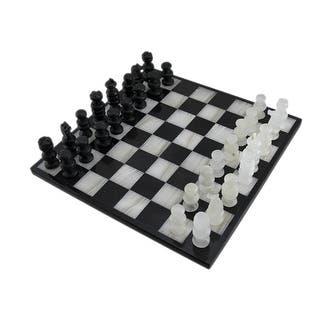 Black and White Marble and Onyx Chess Set 13 1/2 Inch Board - Multicolored|https://ak1.ostkcdn.com/images/products/is/images/direct/6888a6fa9f7ac899b4e9087b114d6869d4e0af42/Black-and-White-Marble-and-Onyx-Chess-Set-13-1-2-Inch-Board.jpg?impolicy=medium