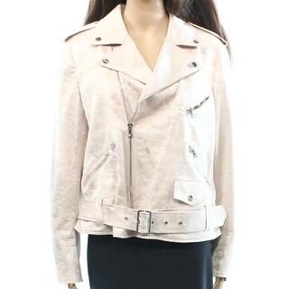 Anne Klein NEW Pink Camo Jacquard Women's Size 16 Motorcycle Jacket