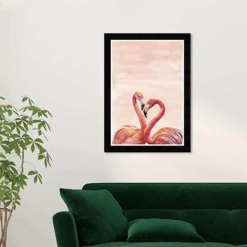 Wynwood Studio 'Flamingo Couple' Animals Wall Art Framed Print Birds - Pink, Orange