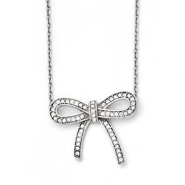 Chisel Stainless Steel Crystal Polished Bow with 1.75in ext. Necklace (1 mm) - 16.25 in