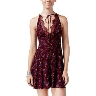 Free People Womens Slip Dress Ruffled Lace Inset