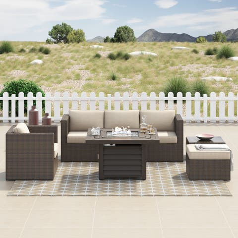 Corvus Kipling 7-piece Resin Wicker Patio Sectional Conversation Fire Pit Set