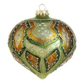 "4"" Green and Orange Matte Jeweled Glittery Glass Onion Christmas Ornament"