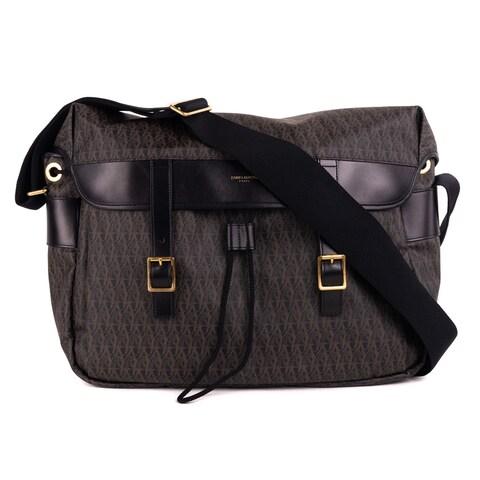 Saint Laurent Black Monogram Canvas Leather Messenger Shoulder Bag
