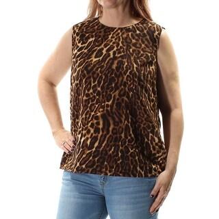 Womens Brown Animal Print Sleeveless Jewel Neck Casual Top Size L
