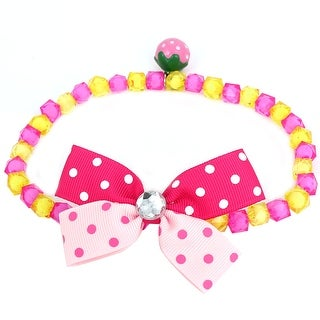 Unique Bargains Faux Crystal Detail Faceted Beads Collar Necklace Fuchsia Yellow L for Pet Dog